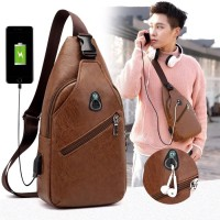 Supplier Tas Selempang Kulit Sling Bag Slempang Pria USB port Kasual C