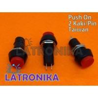 Switch Taiwan Push On Button Saklar Tombol Bulat 2 Kaki Merah