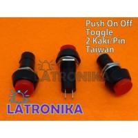 Push On Off Taiwan Toggle Switch Button Saklar Tombol Bulat 2 Kaki Pin