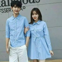 Kemeja Dress Couple Murah Denim Baju AG134