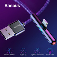 BASEUS KABEL DATA USB GAME MOBILE IPHONE LIGHTNING LED 2.4A 1M - Merah