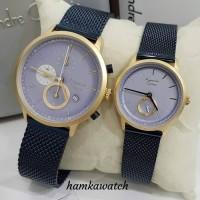 jam tangan pasangan / couple alexander cristie ac6498 blue gold