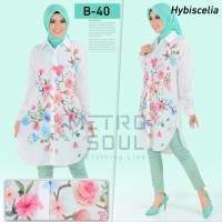 Blouse Tunik Kemeja Fashion Wanita Putih Floral Bunga