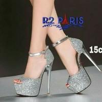High Heels NS05 Silver Gold Sepatu Hak Tinggi wanita cewek pesta