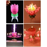 Lilin Musik 8 Sumbu Birthday Music Candle Pesta Bunga Teratai