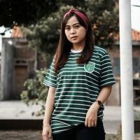 T Shirt / Kaos Stripe Hijau Putih Logo Persebaya