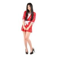 L-707 - Lingerie Sexy Red White Kimono Skirt Costume