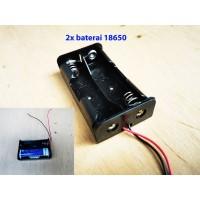 2x 18650 Battery Holder Baterai Case Batere Box Kotak Batre pake kabel