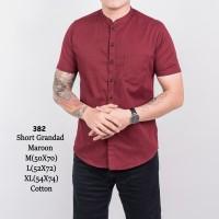 kemeja pria maroon merah kerah shanghai koko + slimfit + baju kerja