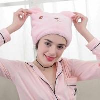 Penyerap Air Handuk keramas Motif Bear Hair Wrap Magic Towel mandi