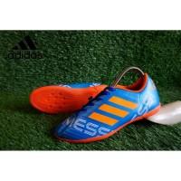 sepatu futsal adidas messi biru list orange made in vietnam