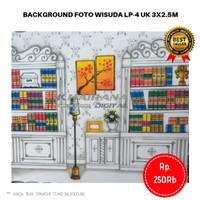 Background Backdrop Layar Foto Wisuda Lemari rak buku LP4 3x2.5m