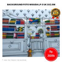 Background Backdrop Layar Foto Wisuda Lemari rak buku LP3 3x2.5m