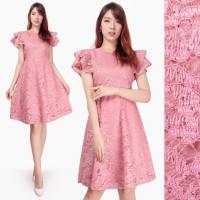 Dress Brokat Modern Mikani Midi Short Dress Wanita