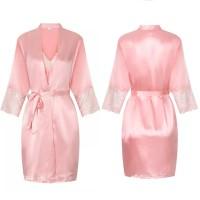 Valeria Lingerie Baju Tidur Piyama Kimono Set Pink Merah Muda