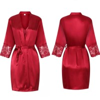 Valeria Lingerie Baju Tidur Piyama Kimono Set Merah Marun Maroon