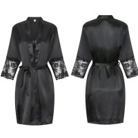 Valeria Lingerie Baju Tidur Piyama Kimono Set Black Hitam