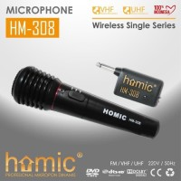 MIC HM-308 Microphone single wireless Homic 308 2in1 (wireless dan kab