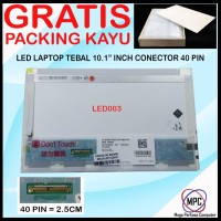 LCD LED Notebook Laptop Tebal 10.1 Inch Conector 40 Pin Packing Kayu