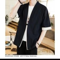 cardigan kimono linen jacket men / jaket dengan lis coat with pria