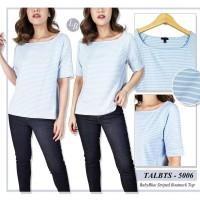 BBJ06790 Talbots Baby Blue Striped Boatneck Top Tshirt Bis Size Blouse