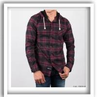 Baju kemeja pria flanel hoodie kupluk model jaket sweater cowo FHD45