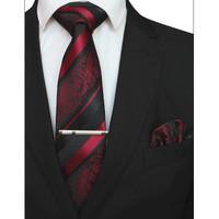 dasi merah maroon batik salur import pria set platinum class
