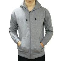Jaket Sweater Hoodie Zipper Abu Muda Pria Wanita