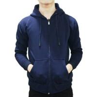Jaket Sweater Hoodie Zipper Navy Pria Wanita