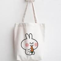 totebag cute lucu rabbit ta belanja lipat tas blacu dan kanvas recycle