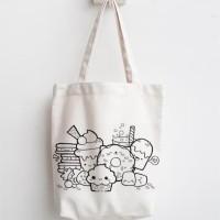 totebag doodle lucu tas belanja lipat tas blacu dan kanvas recycle