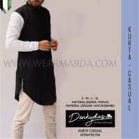 Gamis Pria Pakistan PREMIUM KATUN BAMBU Kemeja/Baju Koko Hitam Putih