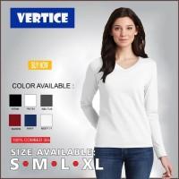 Kaos Polos Wanita Lengan Panjang V-Neck Cotton Combed 30s - S