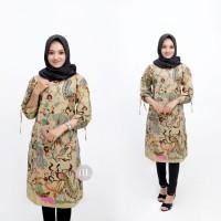 Baju Atasan Wanita Tunik Merak Mocca / Blus Batik Kantor