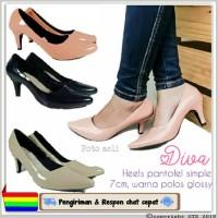 Diva- High heels 5cm sepatu kerja wanita simple pantofel hitam polos g
