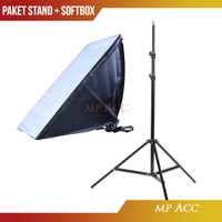Paket Payung Softbox Reflektor 50x70cm E27 Single Lamp Socket n Stand