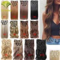 16Pcs Klip Rambut Palsu Hair Extension Model Panjang Lurus Keriting Se