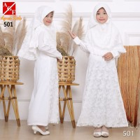 AGNES Gamis Putih Anak Perempuan Baju Muslim Lebaran Anak Wanita 501