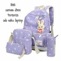 Backpack ransel 4in1 canvas bunny tas laptop sekolah kuliah kerja anak