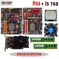 Paketan Motherboard Intel LGA 1156 P55 Offboard Atx Vga Card All Merk