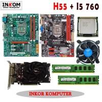 Paketan Motherboard Intel LGA 1156 H55 Onboard + Vga Card All Merk
