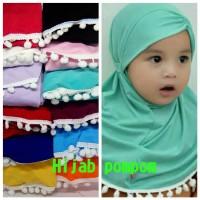 Hijab Bayi Anak Renda Pompom Jilbab Bayi Anak Pompom