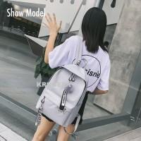 Tas Ransel Backpack Wanita Remaja Impor Ring Plus Pompom