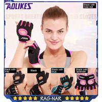 AOLIKES 1678 Sarung Tangan Gym Gloves Fitness Gloves Sepeda Voli Tenis - Full Black, M