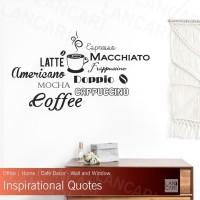 Sticker Dinding Coffee Word Cloud Quotes Stiker Cutting Kaca Cafe Kafe