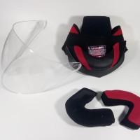 Busa Helm Nhk Predator Double visor kancing plastik (Full set + Kaca) - Putih