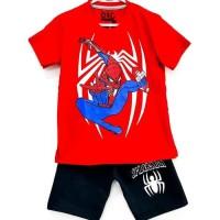 1-6T Setelan baju kaos anak Karakter Laki laki Spiderman Loncat Merah