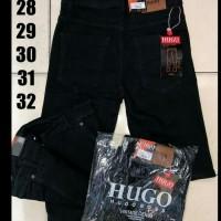 Celana jeans pria pendek hitam/ celana pendek jeans/ jeans hitam