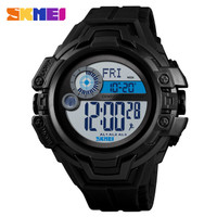 Jam Tangan Outdoor Kompas Pedometer SKMEI 1447 Original Anti Air Hitam