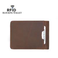 Anti RFID Dompet Pria Cowok Tipis Kulit Asli Import FM110